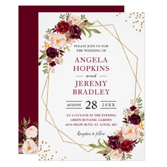 Blush Burgundy Floral Modern Gold Frame Wedding Invitation Zazzle