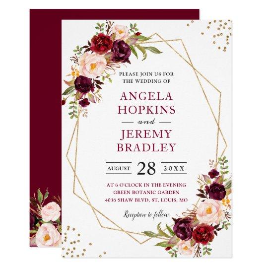 Www Zazzle Com Wedding Invitations: Blush Burgundy Floral Modern Gold Frame Wedding Invitation