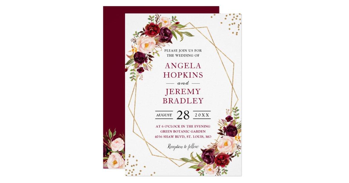 Modern Wedding Invites Uk: Blush Burgundy Floral Modern Gold Frame Wedding Invitation