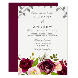 Blush & Burgundy Floral Wedding Invitation