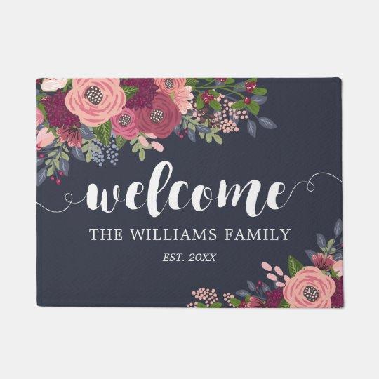 Blush & Burgundy Flowers - Family Name -