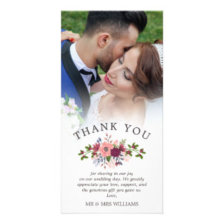 Blush & Burgundy Wedding Thank You Photo Card