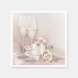 Blush Champagne and Cake Paper Serviettes