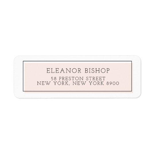 Blush Colour Block Minimalist Return Address Label