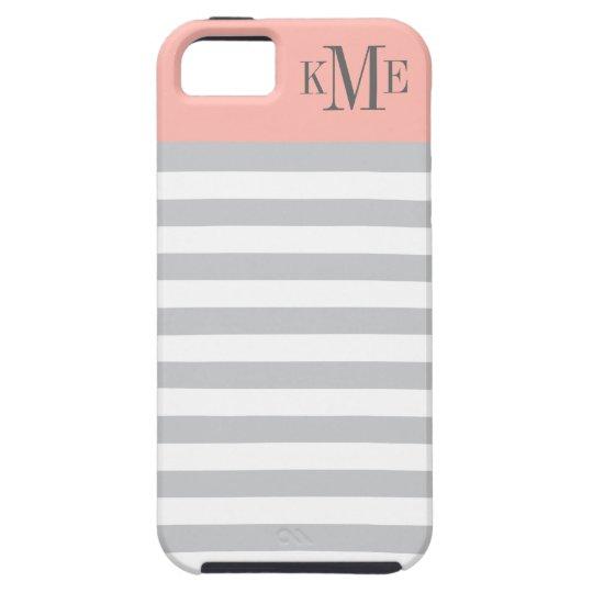 Blush Colour Block Monogram | Grey Stripes Case For The iPhone 5
