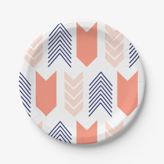 Blush, Coral, & Navy Arrows Paper Plate