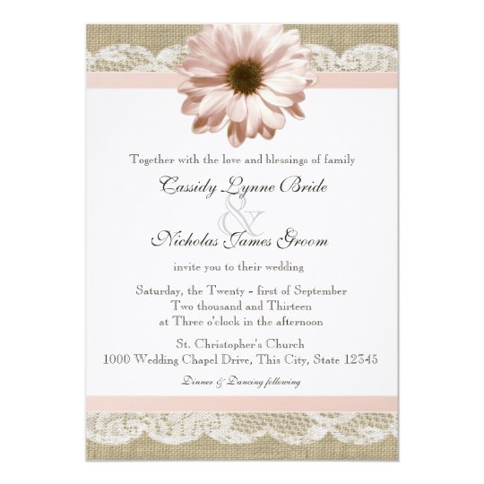 Blush Daisy Country Lace and Burlap Wedding Card