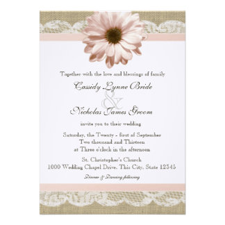 Blush Daisy Country Lace and Burlap Wedding Personalized Announcement