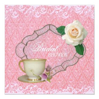 "blush damask Bridal Shower Tea Party Invitation 5.25"" Square Invitation Card"