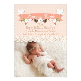 BLUSH DOVE BABY S 1ST CHRISTMAS HOLIDAY PHOTO CARD