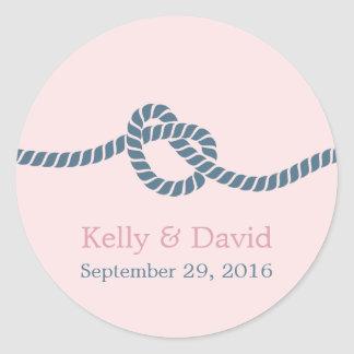 Blush & Dusty Blue Tying the Knot Wedding Favor Round Sticker