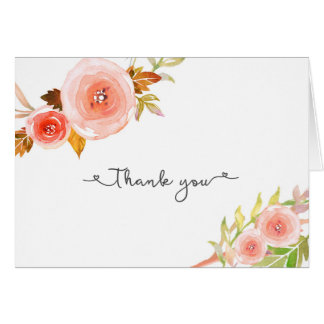 Blush Floral Bridal Shower Wedding Thank you notes Note Card