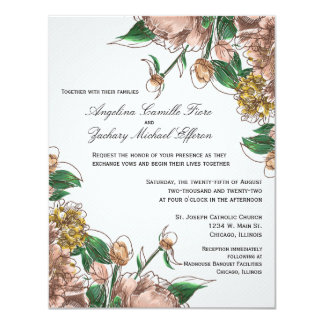 Blush Floral Formal Wedding Invite