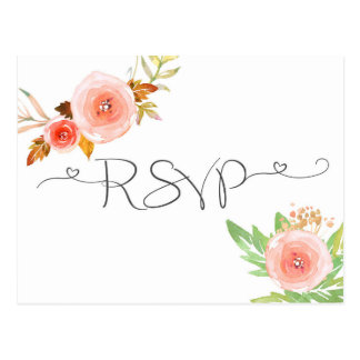 Blush Floral Watercolor RSVP reply card Postcard