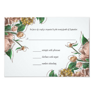 Blush Floral Wedding RSVP Response Card
