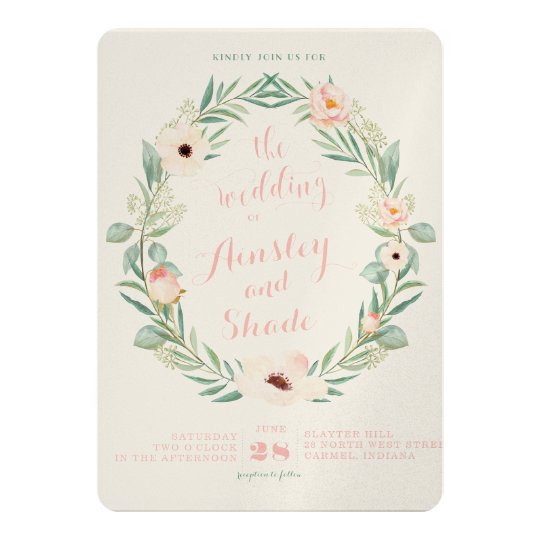 Blush Floral Wreath Wedding Invitation