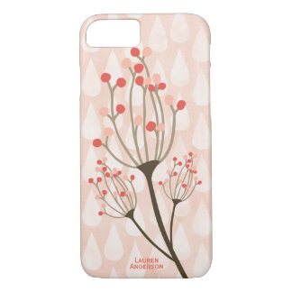 Blush Flowers and Raindrops Pattern Monogram iPhone 7 Case