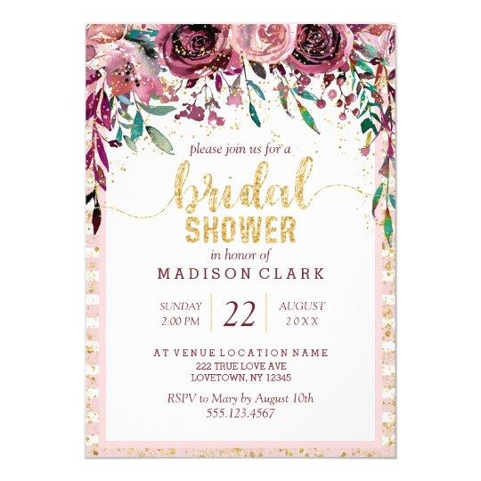 Blush Flowers & Gold Bridal Shower Invitation