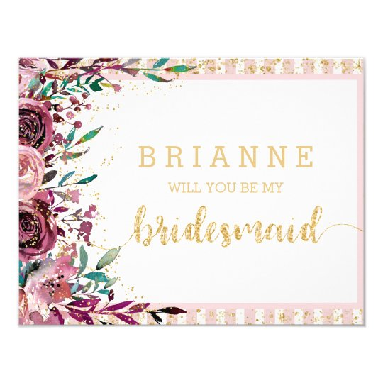 Blush Flowers & Gold Will You Be My