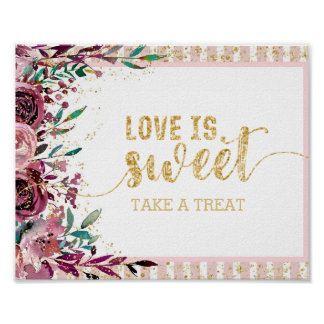 Blush Flowers Stripes Gold Confetti Love is Sweet Poster