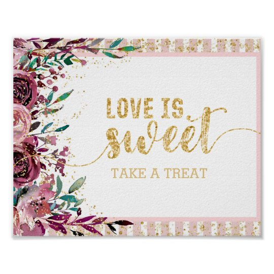Blush Flowers Stripes Gold Confetti Love is Sweet