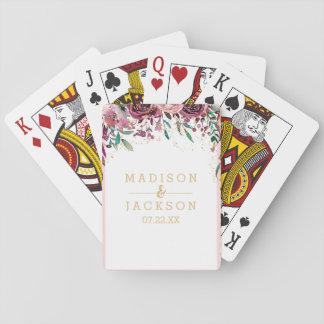 Blush Flowers Stripes Gold Confetti Wedding Favor Playing Cards