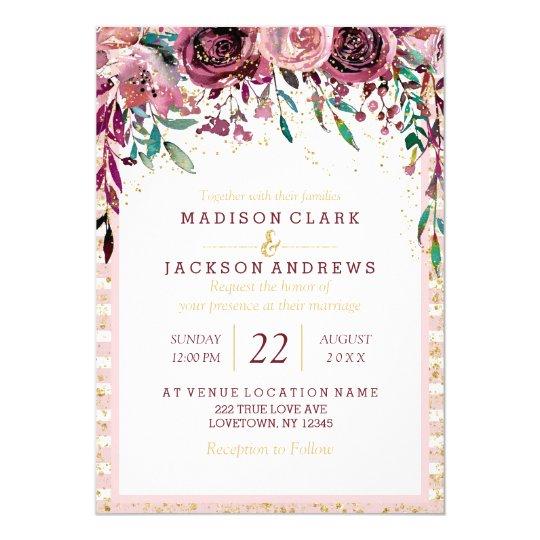Blush Flowers Stripes & Gold Wedding Invitations