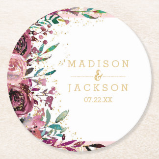 Blush Flowers Stripes & Gold Wedding Monogram Round Paper Coaster