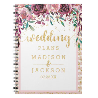 Blush Flowers Stripes & Gold Wedding Planner Notebook