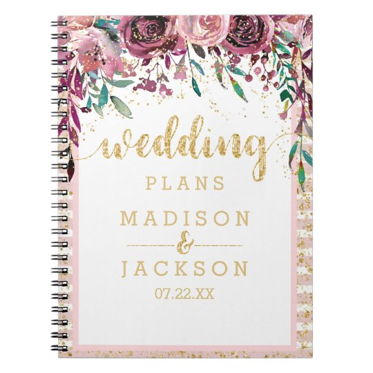Blush Flowers Stripes & Gold Wedding Planner Spiral
