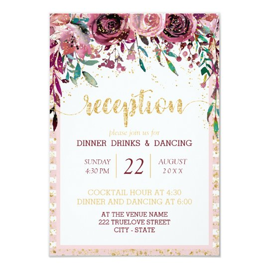 Blush Flowers Stripes & Gold Wedding Reception Card