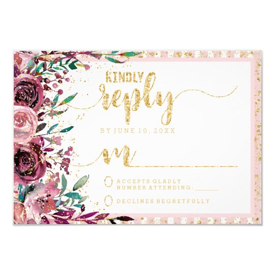 Blush Flowers Stripes & Gold Wedding Reply RSVP