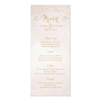 Blush glitter rose gold calligraphy wedding menu 10 cm x 24 cm invitation card