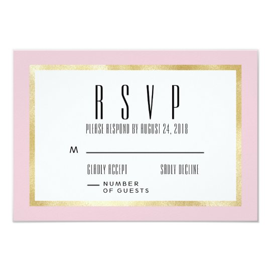 Blush + Gold Classic Wedding Invitation RSVP Card