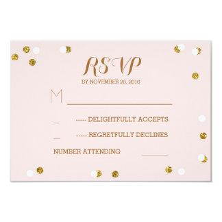 Blush gold confetti elegant wedding RSVP cards 9 Cm X 13 Cm Invitation Card