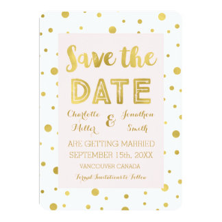 Blush Gold Confetti Wedding Photo Save the Date 13 Cm X 18 Cm Invitation Card