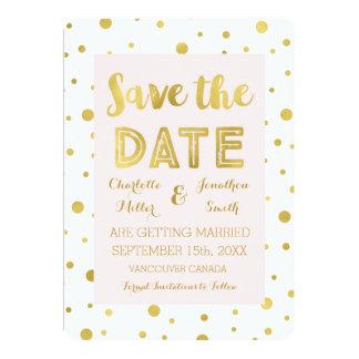 Blush Gold Confetti Wedding Photo Save the Date Card