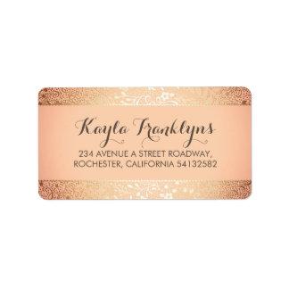 blush gold floral wedding address label