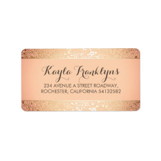 blush gold floral wedding label