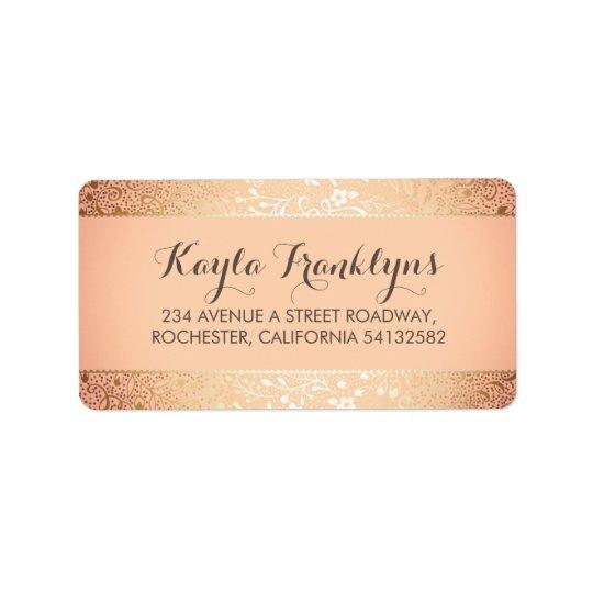 blush gold floral wedding label