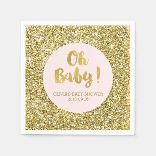 Blush Gold Glitter Confetti Oh Baby Baby Shower