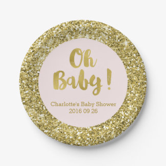 Blush Gold Glitter Oh Baby Baby Shower Plate 7 Inch Paper Plate