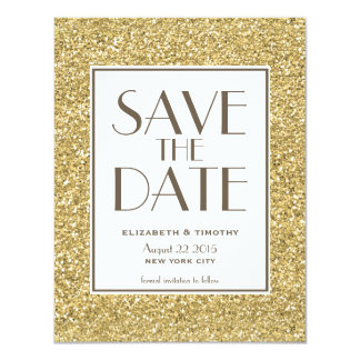Blush Gold Glitter Save the Date Card 11 Cm X 14 Cm Invitation Card