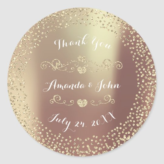 Blush Gold Glitter Save the Date Thank You