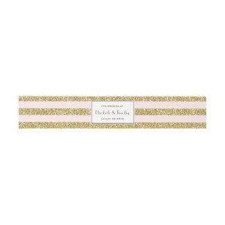 Blush Gold Glitter stripes Belly band Invitation Belly Band