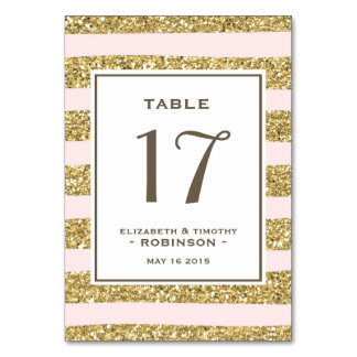 Blush Gold Glitter stripes Table number Table Card