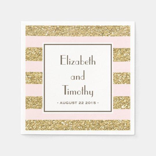 Blush Gold Glitter Stripes Wedding Napkins Paper Napkin
