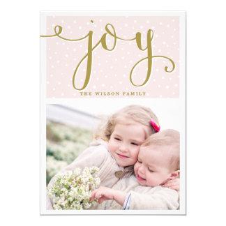 Blush & Gold Joy Script | Holiday Photo Card