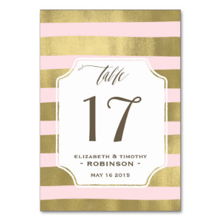 Blush Gold stripes Table number Table Cards