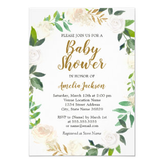 Blush Gold Watercolor Wreath Baby Shower Card